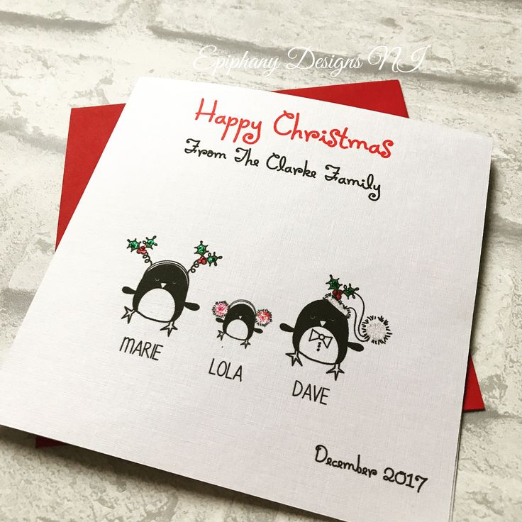 Personalised Christmas card - penguin family representing your family members By Epiphany Designs NI