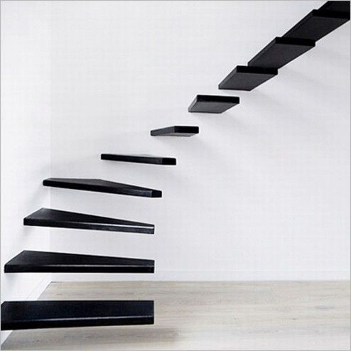 Interior Design, Stunning Black Oak Clear Varnished Straight Floating Open Stairs For Levels Stairway System Design Ideas ~ Attractive Stair Designs Interior with Unique Architecture Design