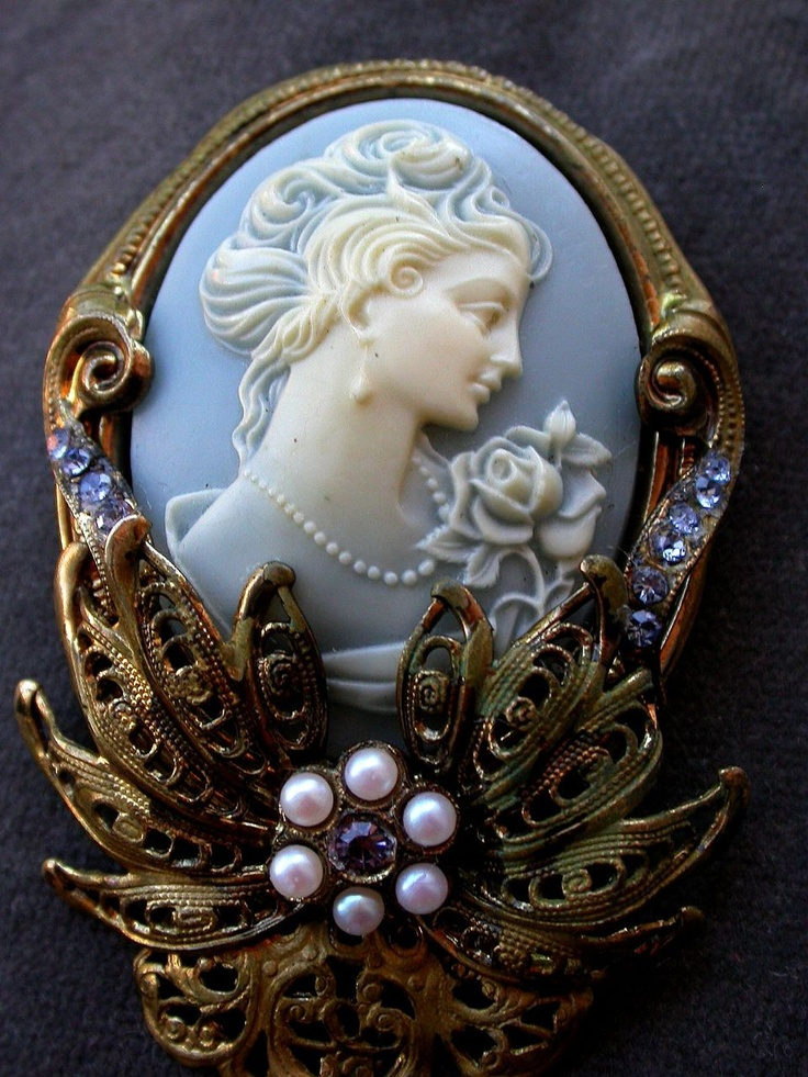 French vintage shell hand carved cameo brooch filigree brass frame with blue crystal