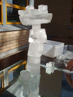 Building with ice on a mirror