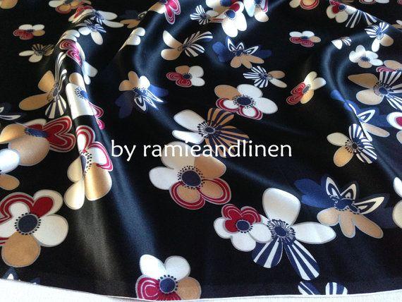 silk fabric floral print 100 silk crepe satin by ramieandlinen, $29.00