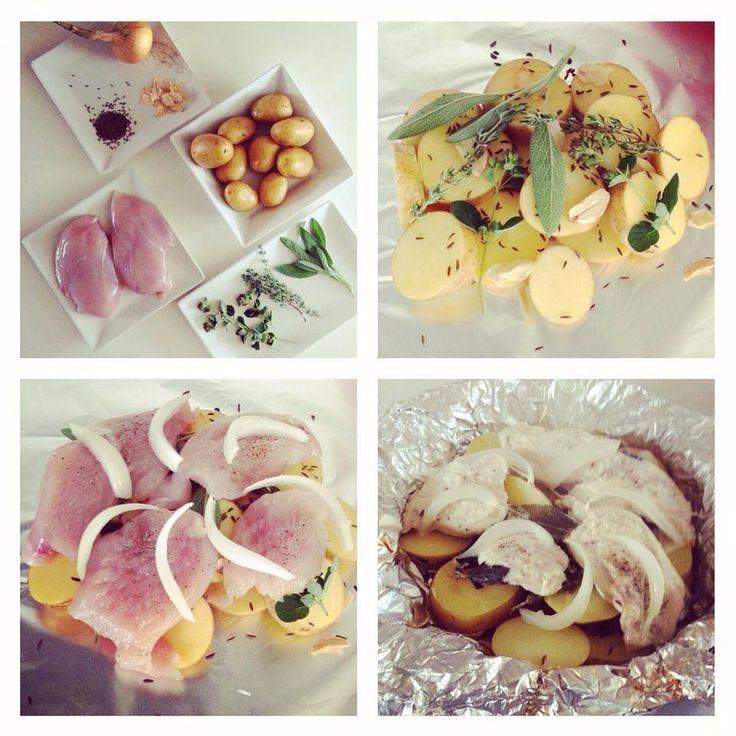 Kuře a brambory v alobalu