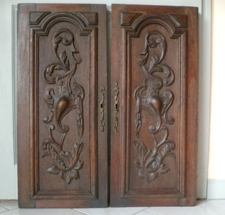 "Pair of French Antique Architecural CARVED Oak Doors   26"" tall 1900's"