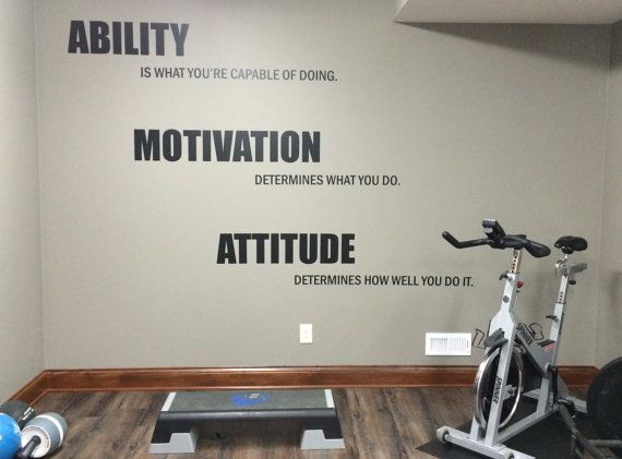 Motivational quote gym wall decal ability motivation for Room design quotes