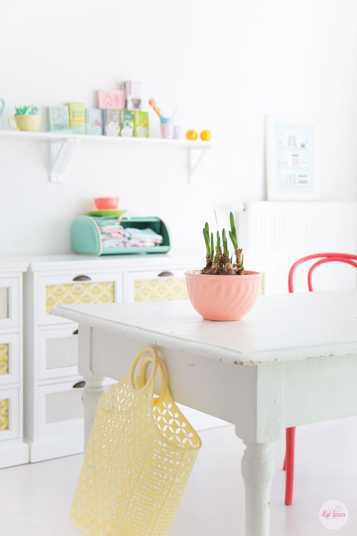 How to decorate your kitchen this spring, check out all the candy like pastels :-),