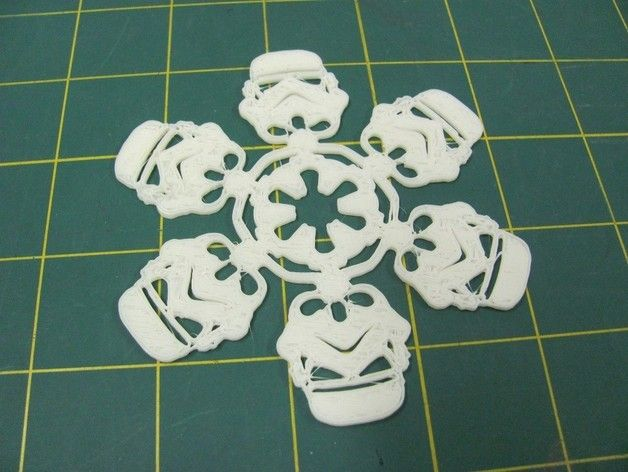 This is inspired by these hand cut paper snow flakes http://mattersofgrey.com/diy-star-wars-snowflakes/ If SOPA becomes law, they will use things like this to censor all of thingiverse and the internet. http://boingboing.net/2011/12/15/get-your-war-on-vs-sopa.html Lest you think this is impossible, remember how George Lucas treats the word droid as if it is his personal property. This design is optimized for glow in the dark ABS but you could probably also laser cut it. Note: printer is…