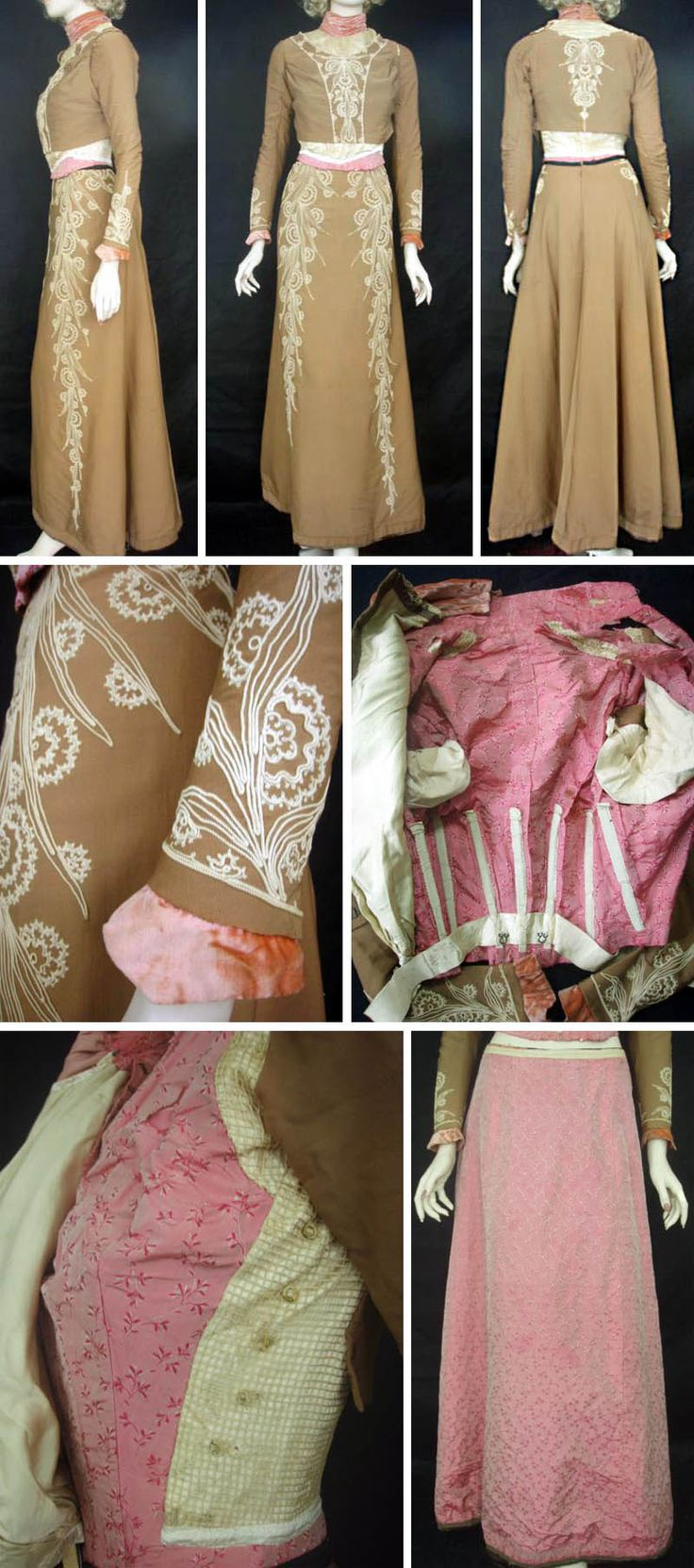 Dress of fine brown wool with cream embroidery and cord work, 1900. Two pieces, both with bright pink floral silk taffeta lining. Bodice also has layer of ivory net with silk satin backing and a velvet collar. Antique Clothier