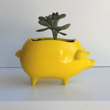 Ceramic Pig Planter Vintage Design in Lemon Yellow by Fruit Fly Pie - eclectic - indoor pots and planters - Etsy