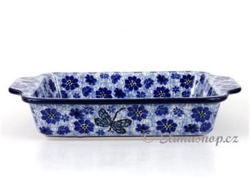Squared BAKER with handles . DRAGONFLY design .This Traditional Handmade Polish Pottery baking dish  is from ELIMAshop.cz . It was handpainted in Boleslawiec  . Bunzlau . ceramics . stoneware . ovenproof baking dish !
