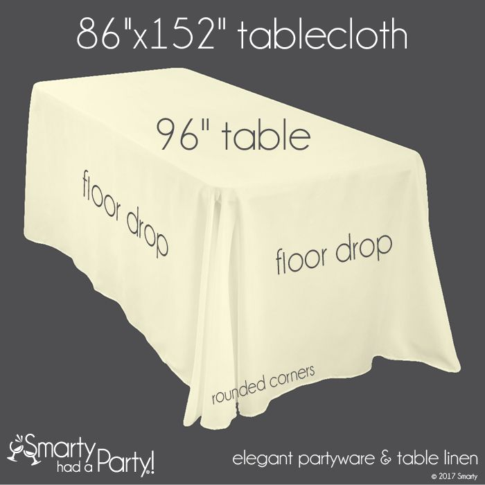 """A 86"""" x 152"""" tablecloth falls to the floor on a 96"""" banquet table.  View the entire tablecloth size guide for banquet tables here! #TableclothSizeGuide 