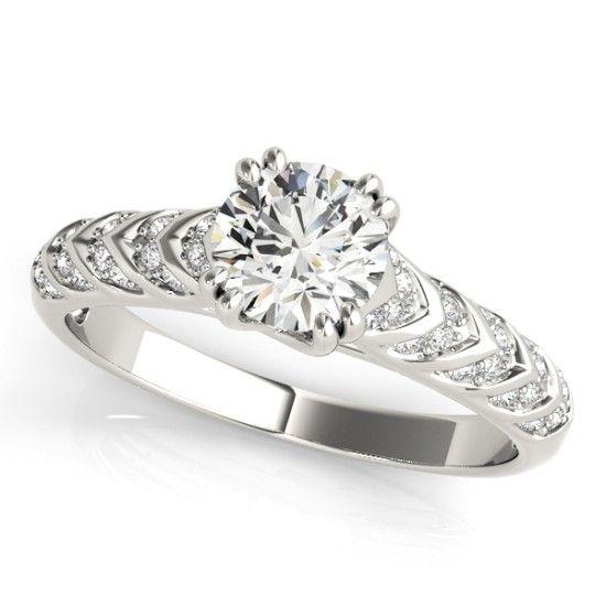''Minerva'' Trellis Round Cut Side Stone Diamonds Gorgeous trellis side stone diamond engagement ring