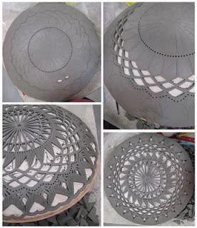 patterned slab potter bowl
