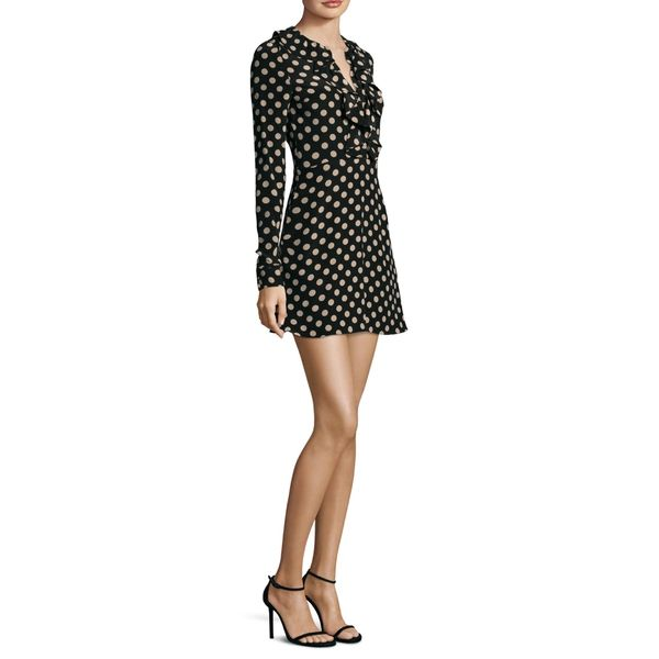 --evaChic--This Alexis Corrinne Silk Polka Dot Dress is a day-to-evening urban wardrobe essential featuring a ruffle detail, split neckline, and a fun polka dot print throughout. This 60s-inspired dress works on many occasions but also in casual moments. Polka dots and ruffles are cool girly details.     https://www.evachic.com/product/alexis-corrinne-silk-polka-dot-dress/