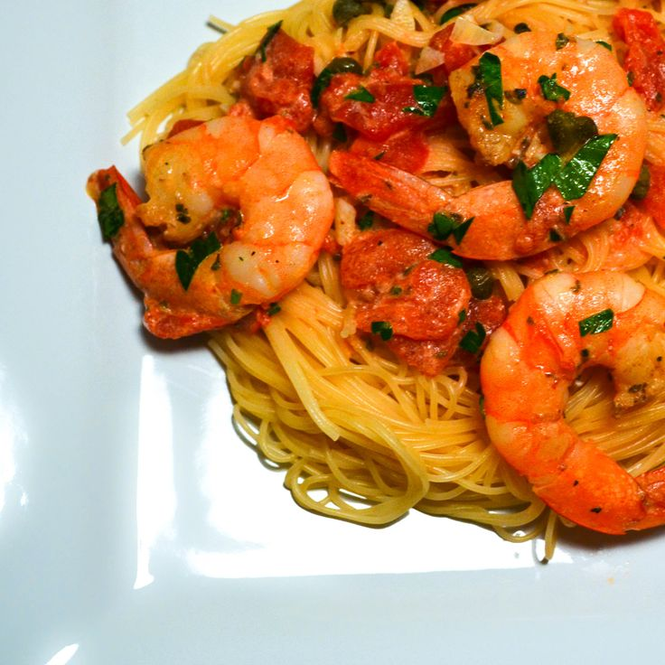 Angel hair pasta w/ shrimp and tomato sauce | Cookbook ...