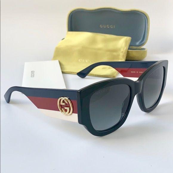 0d2063f5b1858b Gucci Sunglasses Cat Eye GG0276S-001 Black/Grey Gucci Women Sunglasses Cat  Eye Acetate