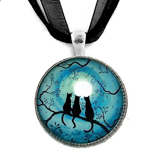 Three Black Cats Silhouette in Teal Moon Handmade Jewelry Art Pendant (Black Ribbon Necklace). Read more description on the website.
