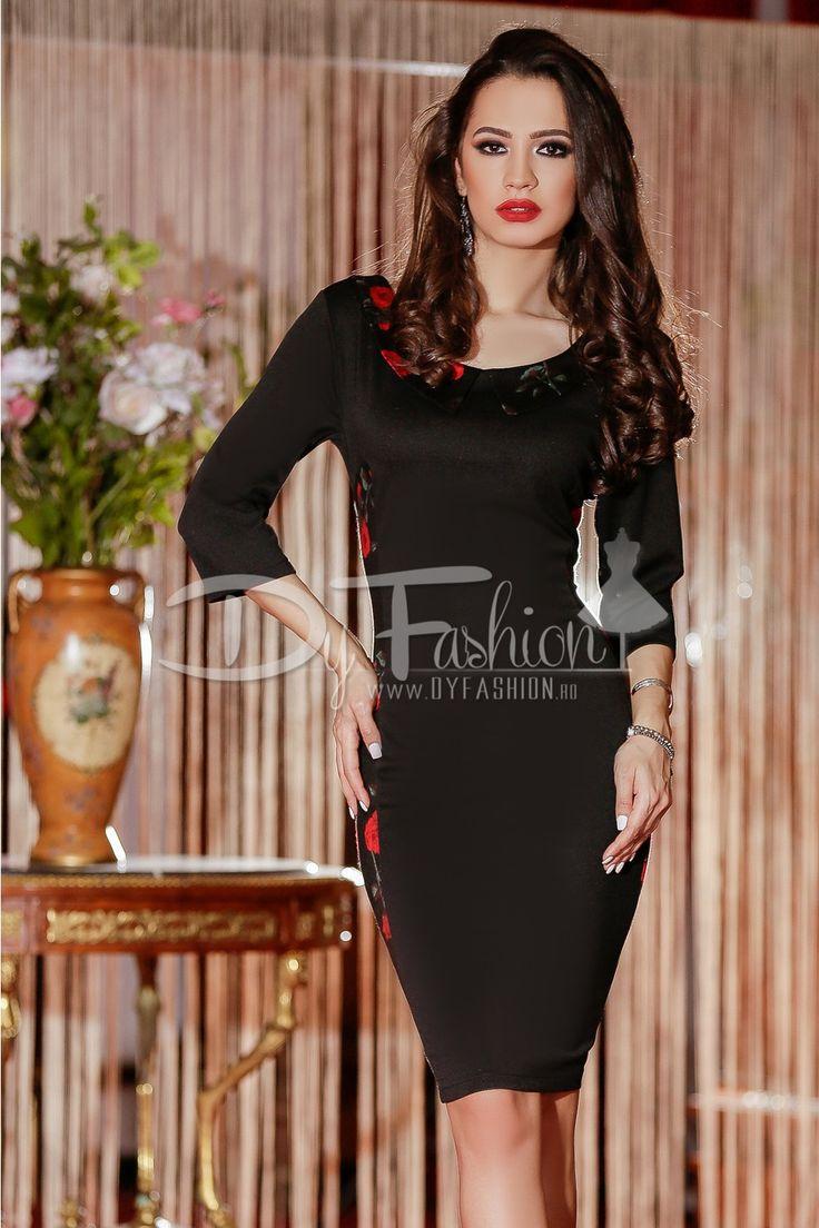 Rochie midi neagra cu imprimeuri de trandafiri rosii
