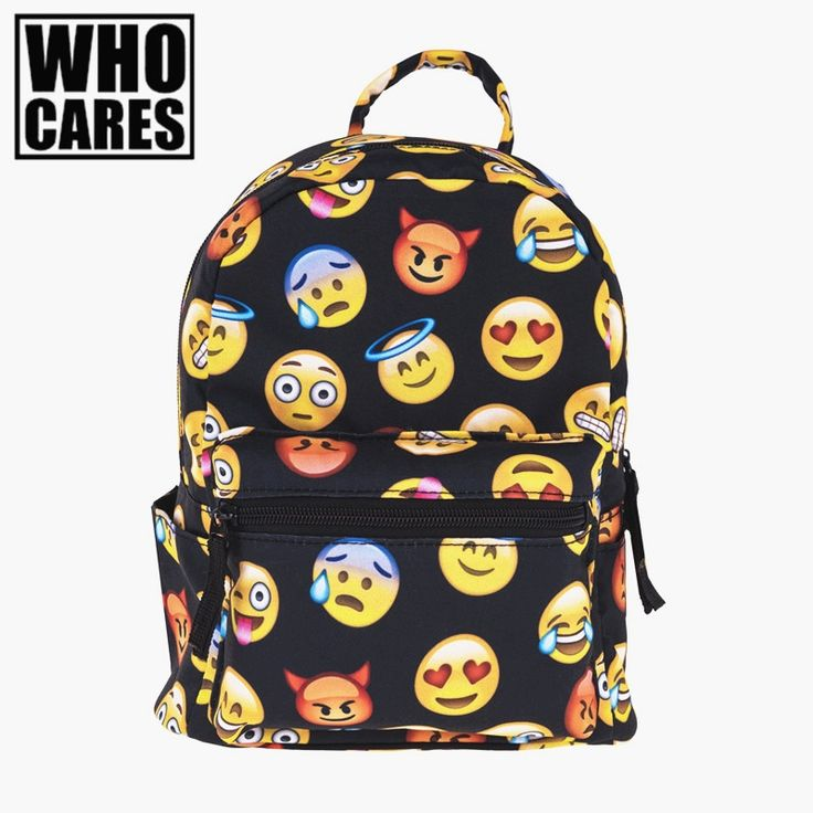 20.00$  Buy here - http://alikw0.shopchina.info/go.php?t=32792816581 - emoji black 3D printing mini backpack women mochila masculina who cares New canvas backpacks For Teenagers Girls school bags  #buyininternet