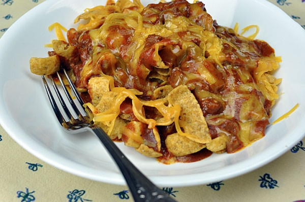 Frito Pie - canned hormel chili, onion, jalapeno, green chili, Fritos ...