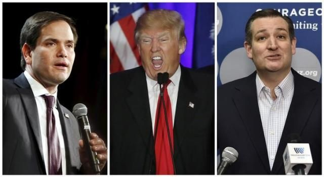 A combination photo shows U.S. Republican presidential candidates Marco Rubio (L) in North Las Vegas, Nevada on February 21, 2016, Donald Trump in Spartanburg, South Carolina on February 20, 2016 and Ted Cruz (R) in Las Vegas, Nevada on February 22, 2016.   REUTERS/Files