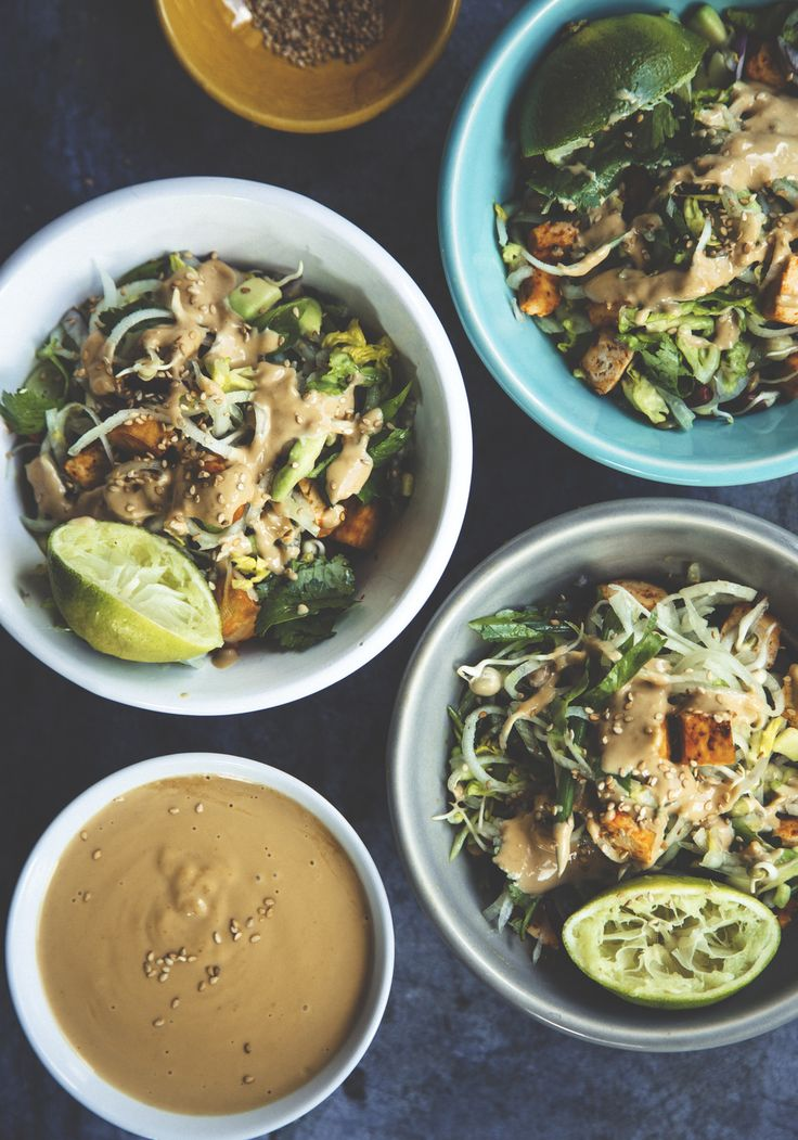 Asian salad with ginger peanut dressing - And a mini plant noodle guide