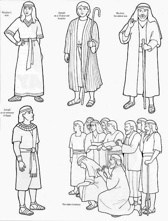 Joseph Worksheets | Black & White Flannel Board Images