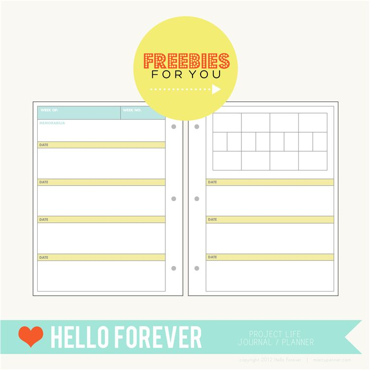 Project Life printable freebie planning pages for page protector - free project planner template
