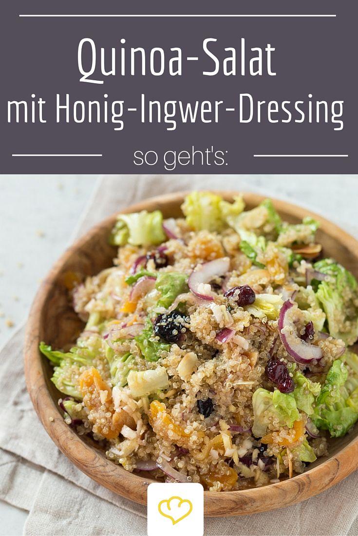 Quinoa-Salat mit Honig-Ingwer-Dressing und getrockneten Beeren - ein tolles Rezept für ein leichtes Abendessen oder zum Mitnehmen ins Büro!