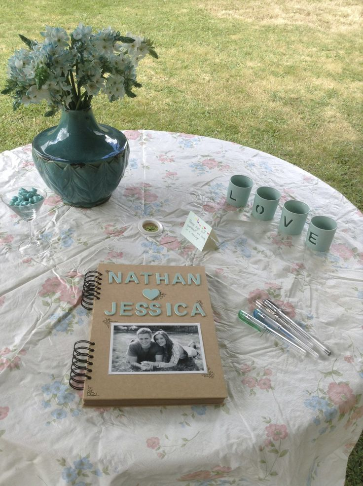 Afternoon Garden Engagement Party Guest book table