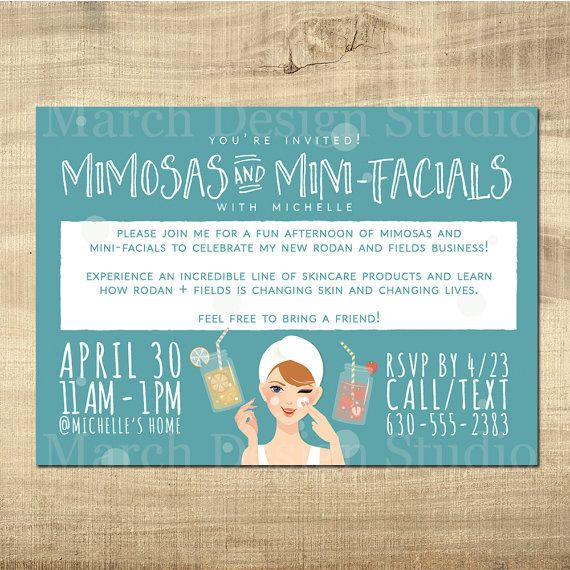 Rodan and Fields Invitation - Digital invitation - Big Business Launch - Mimosas and Mini Facials - Rodan and Fields Party