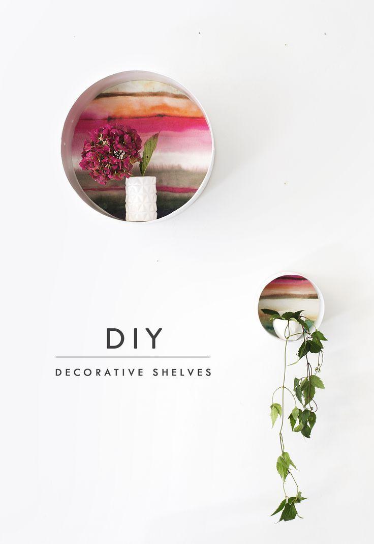 DIY decorative display shelves using Voyage wallpaper
