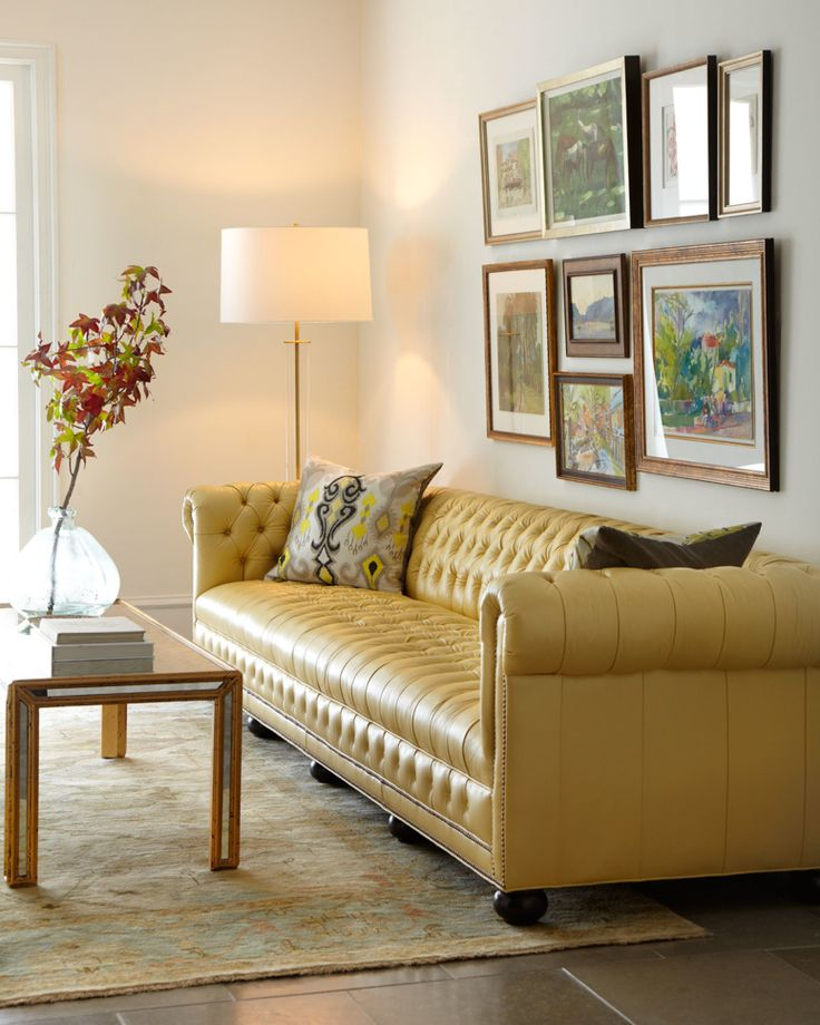 horchow Zerenity 93″L Leather Chesterfield Sofa