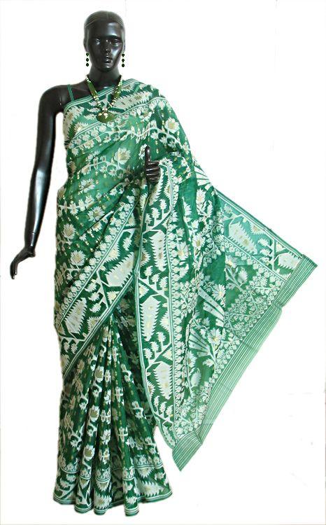 Green Dhakai Jamdani Saree from Kolkata with All-Over Weave in White and Zari Thread (Silk Cotton))