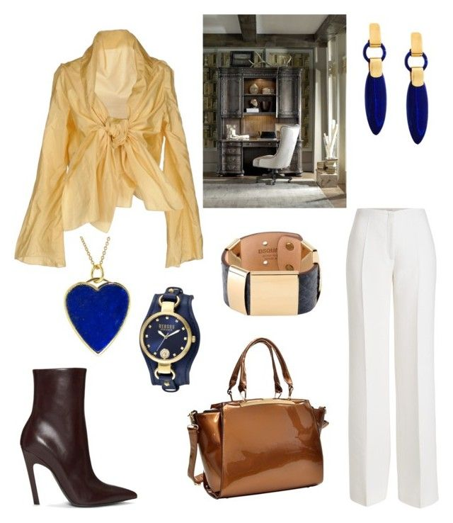 """""""Office Outfit"""" by miwemporium92 on Polyvore featuring Cailan'd, Agnona, Balenciaga, Dasein, Dsquared2, Jennifer Meyer Jewelry and Hooker Furniture"""