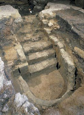 A mikveh (Jewish ritual bath) which dates from 1270. It was found in Milk Street in the City of London and is one of only a few known medieval mikvehs excavated in the UK. It was taken stone by stone and is now housed in the Jewish Museum in London.