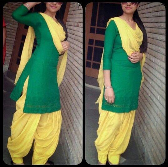 Green and Yellow Punjabi Suit