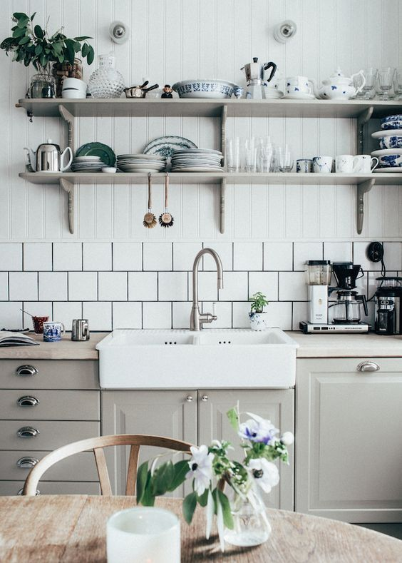 Grey Cupboards, Square Tiles and Open Shelves | Kitchen
