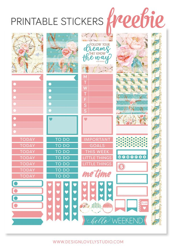 FREE This super cute dreamcatcher planner kit includes formatted cut lines.
