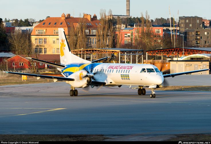 Malmo Aviation Saab 2000 SE-LSE aircraft, skating at Sweden Stockholm Bromma Airport. 24/03/2015.