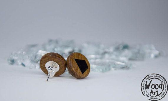 Black Studs Wooden Stud Earrings Handcrafted by TheWoodArtShop