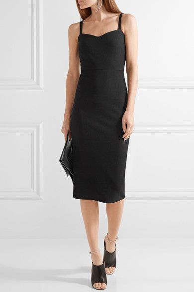 Max Mara - Ribbed Stretch-knit Midi Dress - Black - UK14