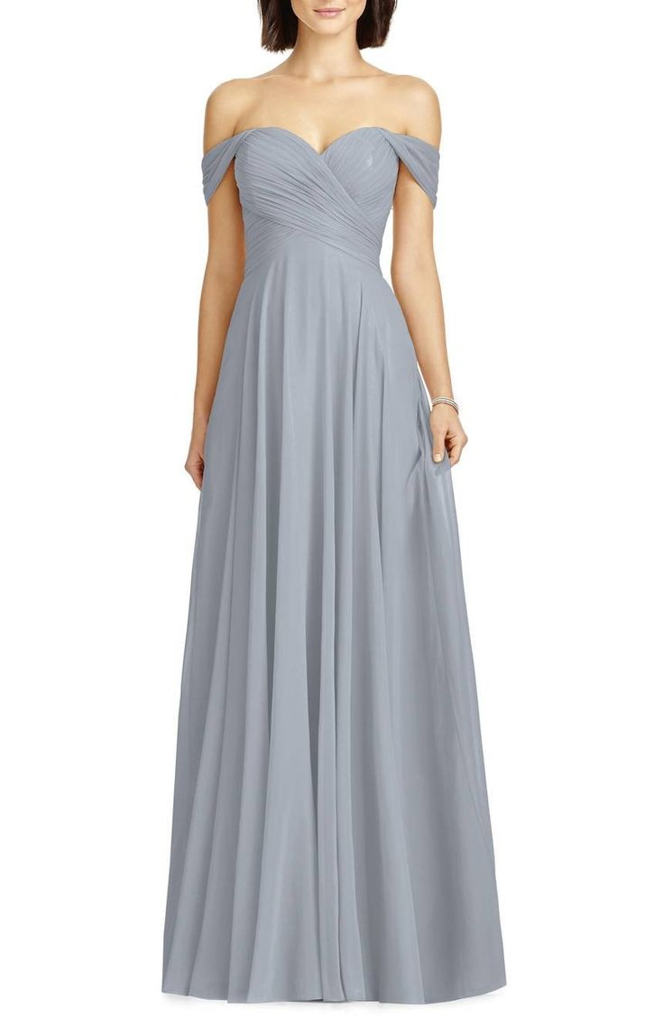 Softly draped sleeves frame the sweetheart neckline of an airy chiffon gown shaped with densely ruched panels that wrap the bodice.