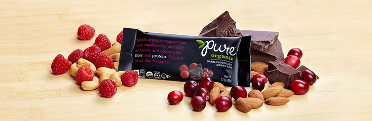 Pure Organic Chocolate Brownie - Are you a #darkchocolate lover? Try not to eat the wrapper.#chocolatebrownie #healthysnacks