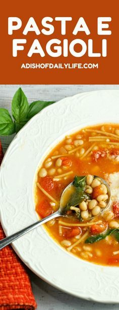 Pasta e Fagioli, a traditional Italian soup, is a comforting dish any time of year. Easy to make, healthy, and delicious, this Italian bean soup recipe makes for a flavor filled bowl every time! And it's a great source of protein and fiber as well! #ad, #betterforyou