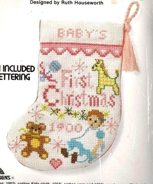 Baby's First Christmas Stocking Kit GIRL Pink Cross Stitch Sunset Jiffy 7.5 RARE…