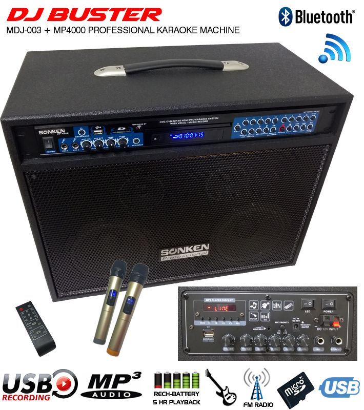 Portable Powered Speaker (150 Watts - RMS) with 2x Wireless Microphones, Up to 5 Hour Rechargeable Battery and Bluetooth complete with Sonken MP4000 Pro Karaoke Machine installed. Amazing sound!