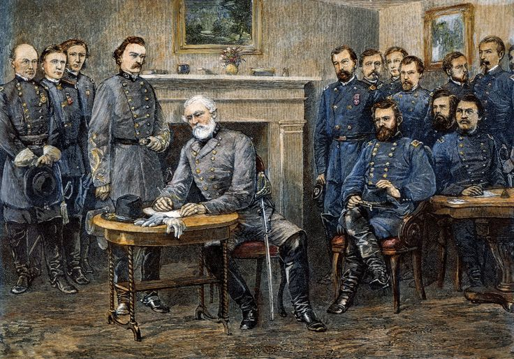 April 9th 1865: The American Civil War ends On this day in 1865, Confederate general Robert E Lee surrendered to Union general Ulysses S Grant at Appomattox Courthouse in Virginia, thus ending the war that had raged since 1861.