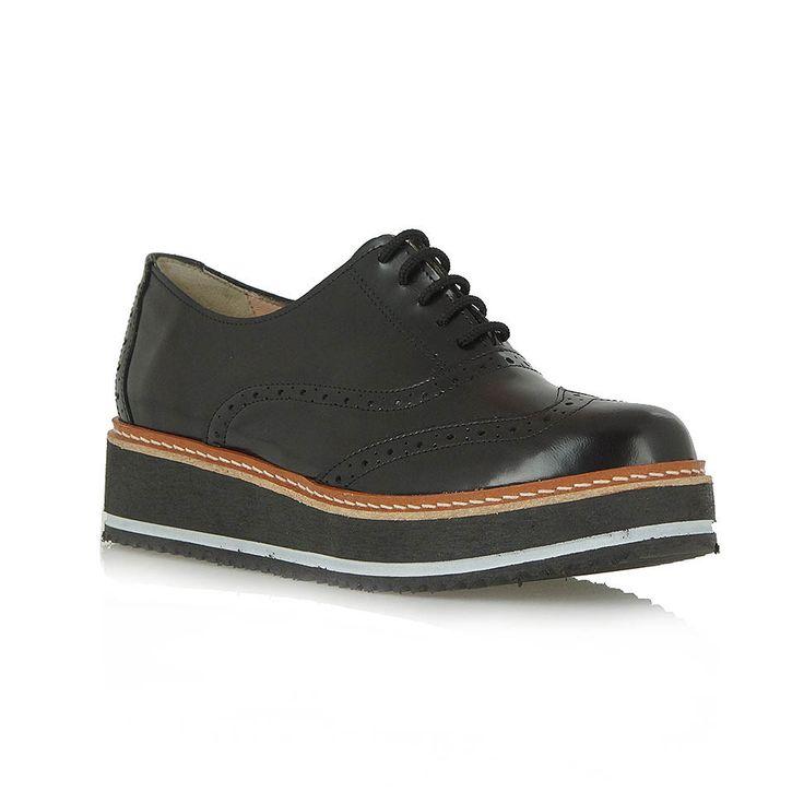 OXFORDS MOD: B113L2552 - EXE Μαύρα δερμάτινα παπούτσια τύπου oxford