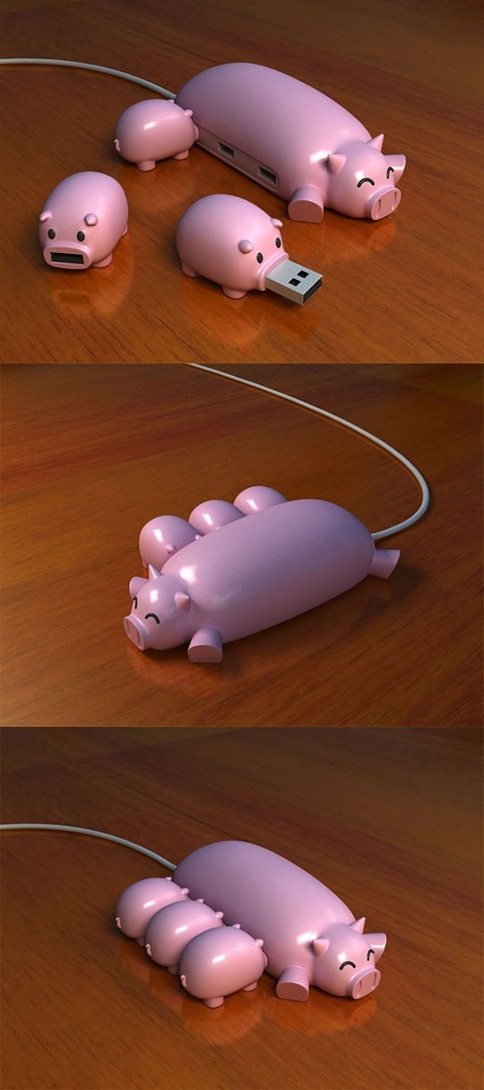 Pig+USB+Hub - Click image to find more My Life Pinterest pins Cute....