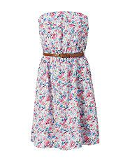 White Pattern (White) White Floral Print Belted Bandeau Dress | 321336519 | New Look